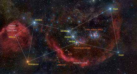 Bintang-bintang Alnitak, Alnilam dan Mintaka di sabuk Orion